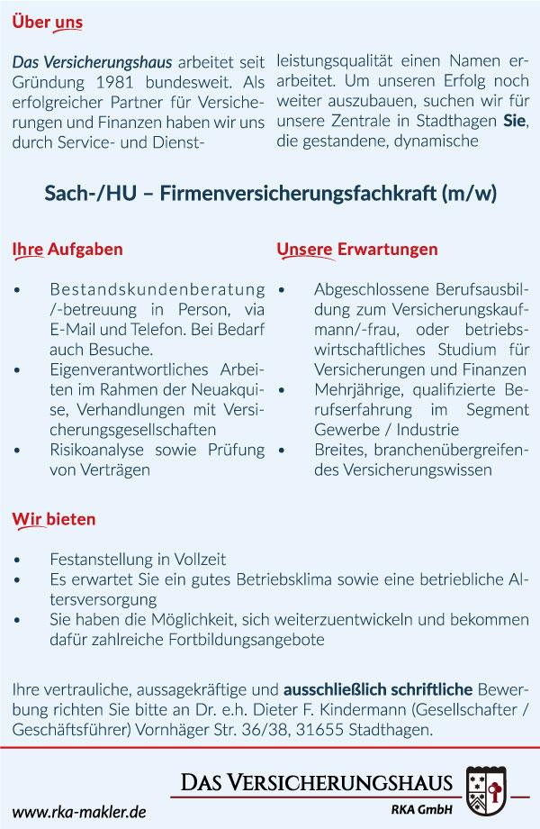 Jobangebote freie Stellen in Das Versicherungshaus RKA ...